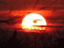 Outre du coucher du soleil du monde au lac Images stock