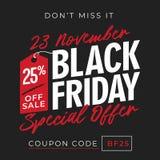25% outre du fond de bannière d'offre spéciale de vendredi de noir de vente avec le symbole de prix à payer conception en ligne d illustration libre de droits