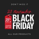 25% outre du fond de bannière de vendredi de noir de vente avec le symbole de prix à payer conception en ligne de calibre de prom illustration de vecteur