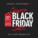 25% outre du fond superbe de bannière de vente de vendredi de noir de vente avec le symbole de prix à payer conception en ligne d illustration stock