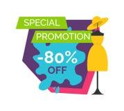 80 outre du logo spécial de promotion avec le simulacre dans la robe illustration de vecteur