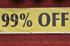 99% outre du signe Photographie stock
