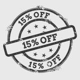 15% outre du tampon en caoutchouc d'isolement sur le fond blanc Image stock