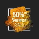 50% outre du texte de vente d'été sur la brosse d'or illustration de vecteur