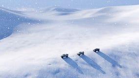 Outre du véhicule routier dans le désert de neige à la tempête de neige 4K banque de vidéos