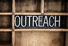 Outreach Concept Metal Letterpress Word in Drawer Royalty Free Stock Photos