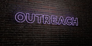OUTREACH -Realistic Neon Sign on Brick Wall background - 3D rendered royalty free stock image. Can be used for online banner ads and direct mailers vector illustration