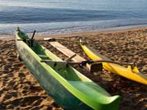 Outrigger on the beach Royalty Free Stock Photos