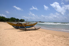 Outrigger at Bentota Beach. Sri Lanka Stock Images