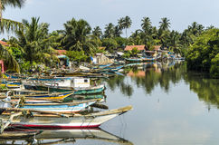 Outrigger boats in the harbour in Negombo, Sri Lan Stock Photography