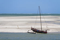 Outrigger canoe on the beach Royalty Free Stock Image
