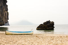 Outrigger canoe on the beach Royalty Free Stock Images