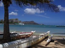 Outrigger Canoe and Diamond Head Stock Image