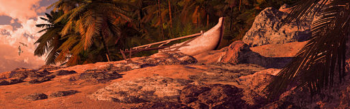 Outrigger Canoe On Tropical Coast. Outrigger canoe beached on a tropical island Stock Photos