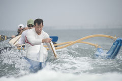 Outrigger Canoeing Team In Race Royalty Free Stock Photos