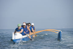 Outrigger Canoeing Team In Race Stock Images