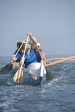 Outrigger Canoeing Team In Race Royalty Free Stock Images