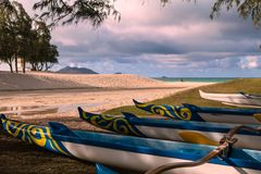 Outrigger canoes in hawaii Stock Image