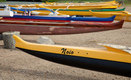 Outrigger Canoes on Oahu, Hawaii Stock Photo