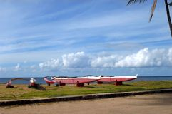 Outrigger Canoes at rest Royalty Free Stock Image
