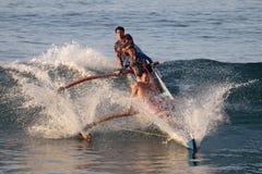 outrigger för strandkanotmakaha Royaltyfri Fotografi