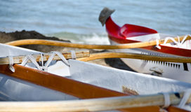 Outrigger at Kaunaoa beach Stock Photography