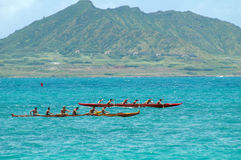 Outrigger Regatta. Outrigger canoe race at Kailua Beach Stock Photos