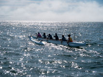 Outrigger team go out to practice, morning in Santa Cruz Stock Photography