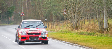 Outright winner of the Snowman Rally 2012. An image of the winning car in the Snowman Rally held on 18th February 2012. Winning drivers were David Bogie and Royalty Free Stock Photo