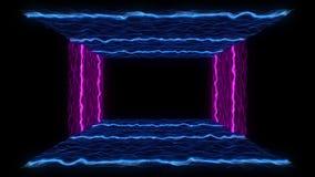outro del neón del extracto del movimiento del paisaje VJ de la partícula del estilo de la cinta de 80s VHS ilustración del vector