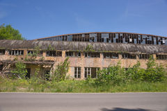 Outside of abandoned factory building Royalty Free Stock Images