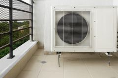 Outside Air Conditioner. Installation  on the Balcony Floor Royalty Free Stock Photos