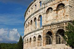 Outside the amphitheatre in Pula stock photos