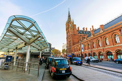 Outside area of Kings cross station with Taxis Royalty Free Stock Photos