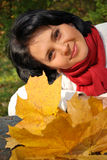 Outside autumn portrait. Of a young woman Royalty Free Stock Photo