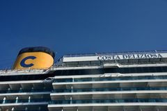 Outside balcony cabin with yellow cimney of Costa Deliziosa cruise ship stock photo