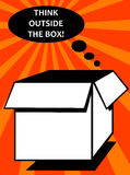 Outside the box. Thinking creatively by thinking outside the box royalty free illustration