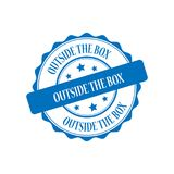 Outside the box stamp illustration Royalty Free Stock Image