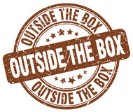 Outside the box brown stamp Royalty Free Stock Photo