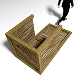 New Ideas. Man searching for ideas outside the box royalty free illustration