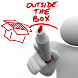 Outside the Box Man Writing Words Marker Stock Images