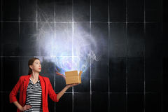 Outside the box thinking . Mixed media Stock Image