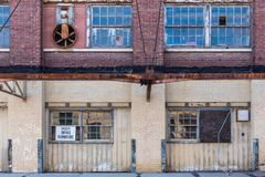 Exterior of old abandoned brick warehouse in inner city Royalty Free Stock Image