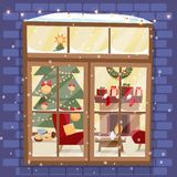 Outside brick wall with window - Christmas tree, furnuture, wreath, fireplace, stack of gifts and pets. Cozy festively decorated vector illustration