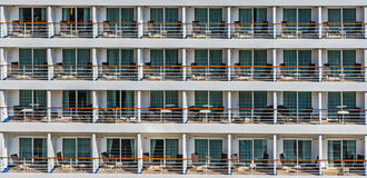Outside cabins of the cruise ship Royalty Free Stock Images