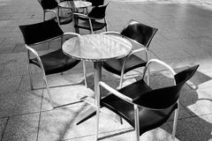 An outside cafe in black and white. An outside cafe in Zaragoza, Aragon, Spain Stock Photo