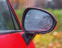 Outside the car in the raining day royalty free stock photography