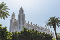 The outside of casablanca cathedral with tree. In Casablanca, Morocco Stock Photography