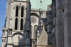 Outside of the cathedral of Chartres, in France royalty free stock photo
