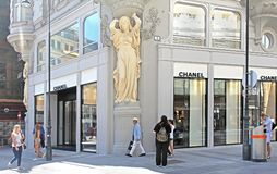 Outside of Chanel botique in Vienna stock photo